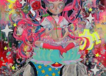"""Our God - Fugen Bosatsu, Mixed media, 45.9"""" x 35.8"""", 2017"""